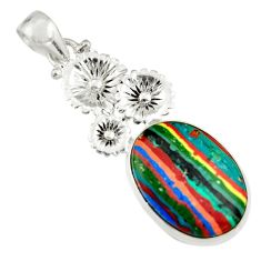 14.14cts natural multicolor rainbow calsilica 925 silver flower pendant r19612