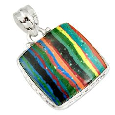 15.65cts natural multicolor rainbow calsilica 925 sterling silver pendant r20111