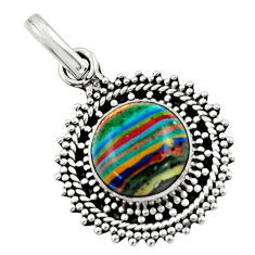 4.00cts natural multicolor rainbow calsilica 925 sterling silver pendant r44732