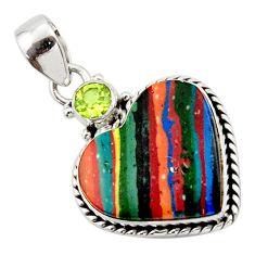 12.72cts natural multicolor rainbow calsilica peridot heartsilver pendant r43973
