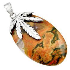 Clearance Sale- 41.70cts natural multicolor rainforest rhyolite jasper 925 silver pendant d45533