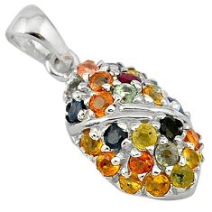 6.12cts natural multicolor sapphire 925 sterling silver pendant jewelry c18231