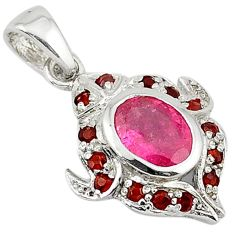 5.16cts natural multicolor tourmaline 925 sterling silver pendant jewelry c18183