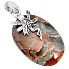 25.18cts natural mushroom rhyolite 925 silver angel wings fairy pendant r91394