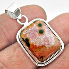 14.68cts natural ocean sea jasper (madagascar) 925 silver pendant jewelry t53766
