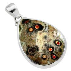 16.22cts natural ocean sea jasper (madagascar) 925 silver pendant t22423