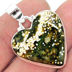 17.22cts natural ocean sea jasper (madagascar) heart 925 silver pendant t23813
