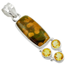 Clearance Sale- 12.10cts natural ocean sea jasper (madagascar) octagan 925 silver pendant d43245