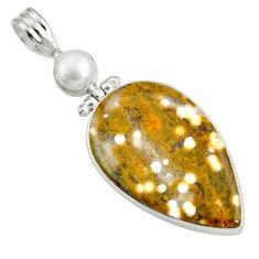 19.23cts natural ocean sea jasper (madagascar) pearl 925 silver pendant d41332