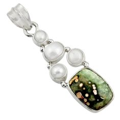 Clearance Sale- 9.67cts natural ocean sea jasper (madagascar) pearl 925 silver pendant d43225