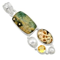 Clearance Sale- 13.77cts natural ocean sea jasper (madagascar) pearl 925 silver pendant d43227