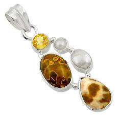 Clearance Sale- 12.06cts natural ocean sea jasper (madagascar) pearl 925 silver pendant d43229