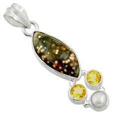 11.73cts natural ocean sea jasper (madagascar) pearl 925 silver pendant d43231