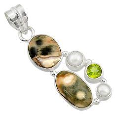 13.09cts natural ocean sea jasper (madagascar) pearl 925 silver pendant d43235