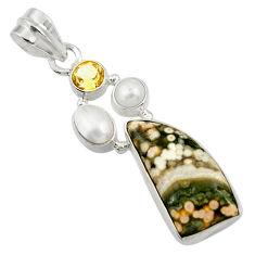 11.51cts natural ocean sea jasper (madagascar) pearl 925 silver pendant d43236