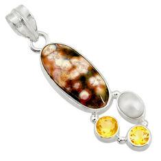 12.06cts natural ocean sea jasper (madagascar) pearl 925 silver pendant d43238