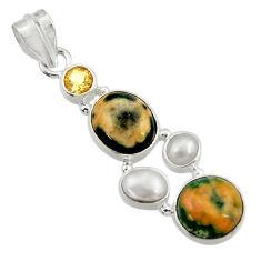 Clearance Sale- 12.06cts natural ocean sea jasper (madagascar) pearl 925 silver pendant d43240