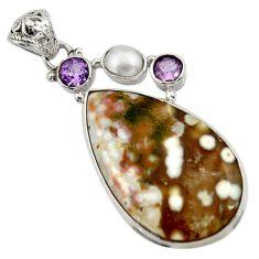 25.60cts natural ocean sea jasper (madagascar) pearl 925 silver pendant d43248
