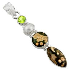 Clearance Sale- 11.25cts natural ocean sea jasper (madagascar) pearl 925 silver pendant d43249