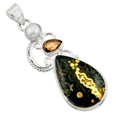 19.23cts natural ocean sea jasper (madagascar) pearl 925 silver pendant d43254