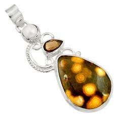 20.05cts natural ocean sea jasper (madagascar) pearl 925 silver pendant d43255