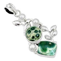13.28cts natural ocean sea jasper (madagascar) pearl 925 silver pendant r72874