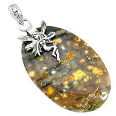 Clearance Sale- 24.86cts natural ocean sea jasper 925 silver angel wings fairy pendant r91336