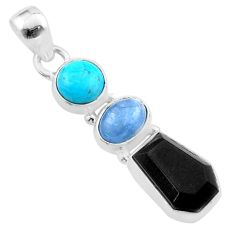 9.25cts natural onyx aquamarine turquoise coffin 925 silver pendant t48470