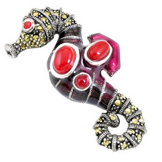 4.45cts natural honey onyx marcasite enamel 925 silver seahorse pendant c16633