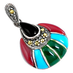 5.54cts natural black onyx sleeping beauty turquoise 925 silver pendant c16711
