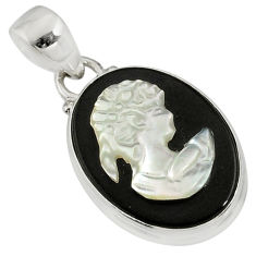 10.12cts natural opal cameo on black onyx 925 silver lady face pendant r80366