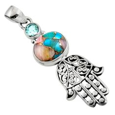 5.99cts natural opal in turquoise 925 silver hand of god hamsa pendant r52833