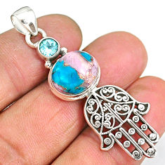 6.60cts natural opal in turquoise 925 silver hand of god hamsa pendant r90367