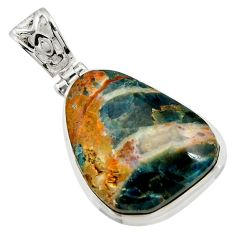 Clearance Sale- 28.08cts natural orange apatite (madagascar) 925 sterling silver pendant d43914