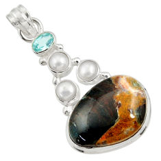 Clearance Sale- 25.60cts natural orange apatite (madagascar) topaz 925 silver pendant d43910