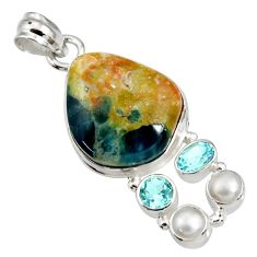 Clearance Sale- 24.35cts natural orange apatite (madagascar) topaz 925 silver pendant d44136
