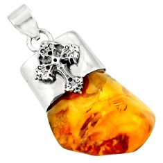 15.85cts natural orange baltic amber (poland) 925 silver cross pendant r51608