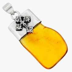 15.36cts natural orange baltic amber (poland) 925 silver cross pendant r51609