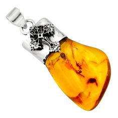 13.55cts natural orange baltic amber (poland) 925 silver cross pendant r51613