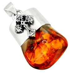 19.48cts natural orange baltic amber (poland) 925 silver cross pendant r51636
