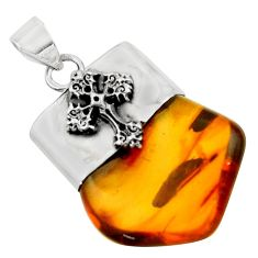 17.20cts natural orange baltic amber (poland) 925 silver cross pendant r51639