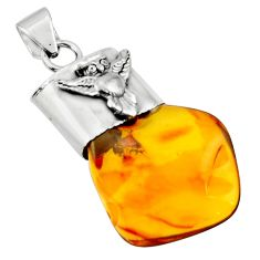 14.14cts natural orange baltic amber (poland) 925 silver owl pendant r51605