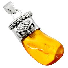 13.55cts natural orange baltic amber (poland) 925 silver owl pendant r51620
