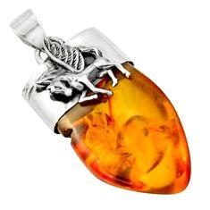 17.18cts natural orange baltic amber (poland) 925 silver unicorn pendant r51607