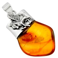 13.55cts natural orange baltic amber (poland) 925 silver unicorn pendant r51618