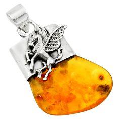 12.10cts natural orange baltic amber (poland) 925 silver unicorn pendant r51634
