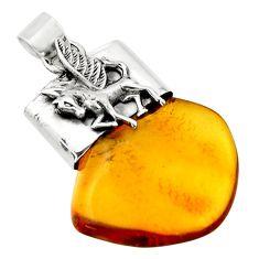 14.90cts natural orange baltic amber (poland) 925 silver unicorn pendant r51637