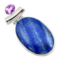 34.94cts natural orange blue quartz palm stone 925 silver pendant r30616