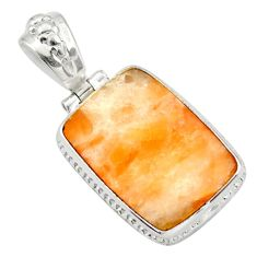 17.55cts natural orange calcite 925 sterling silver pendant jewelry d41662