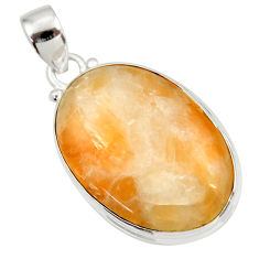 Clearance Sale- 20.88cts natural orange calcite 925 sterling silver pendant jewelry d41666